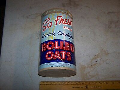Vintage SO FRESH Rolled Oats Container STANDARD GROCERY INDIANAPOLIS INDIANA