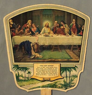 PAPER FAN for AFRICAN AMERICAN Businessman St LOUIS MO 1930 Last Supper GOLDMAN