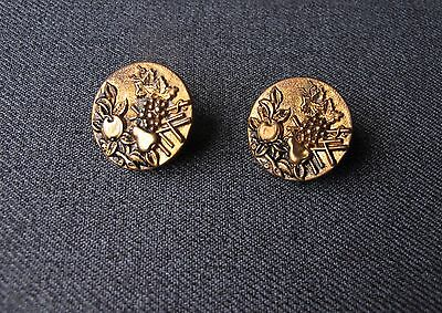 2 Antique Victorian Decorated With Fruits Golden Metal Buttons