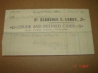 1892 Elbridge Gerry, Lynnfield Mass Cider Billhead, Wolfe Tavern, Newburyport Ma