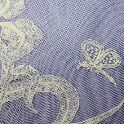Antique piece of Off-white cotton handmade Embroidered Net lace, butterfly