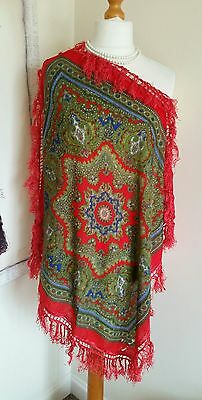 Antique Wool Paisley Shawl Mid To Late 19Th Century?