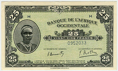 FRENCH WEST AFRICA 1942 ISSUE 25 FRANCS NICE NOTE CRISP XF.PICK#30a.