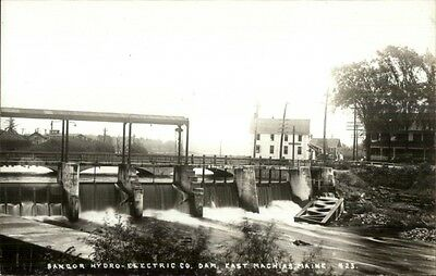 East Machias ME Bangor Hydro Electric Dam Real Photo Postcard c1950s
