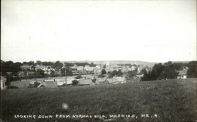 Machias ME Down from Normal Hill 1950s Real Photo Postcard