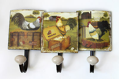 Nostalgia Sheet Hook Rail Chickens Antique 3 approx. 35cm Width Rooster Shabby