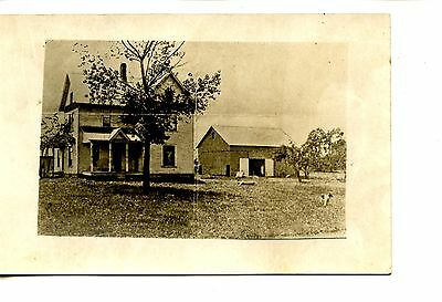 Large Farm House-Barn Building-Old Picture-RPPC-Real Photo Postcard