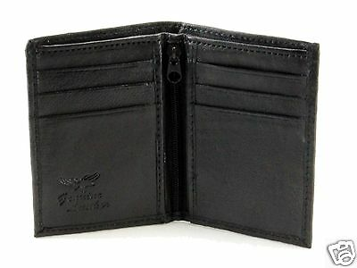 New Slim Thin Mens Bifold Genuine Leather ID Wallet Black Credit Card Holder 760