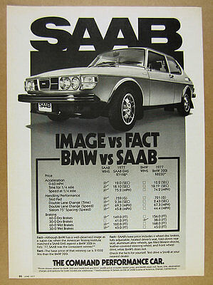 1977 Saab 99 EMS compared to BMW 320i vintage print Ad