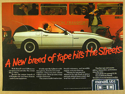 1985 TVR 350i Convertible wedge photo Maxell UDI Cassettes vintage print Ad