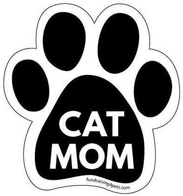 "Cat Mom Paw Car Fridge 5.5"" Plastic Magnet Kitten Gift Black"