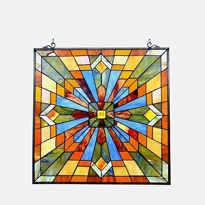 """Stained Glass Tiffany Style Window Panel Arts & Crafts Mission Design 24"""" x 24"""""""