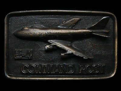 LG23103 VINTAGE 1970s ***E-4 COMMAND POST*** US AIR FORCE AIRCRAFT BELT BUCKLE