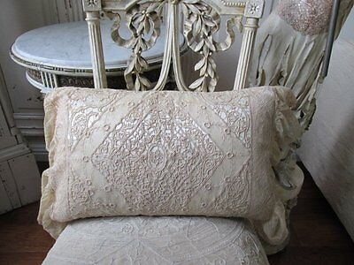 EXQUISITE ANTIQUE Victorian NET TAMBOUR LACE PILLOW COVER with Satin Insert