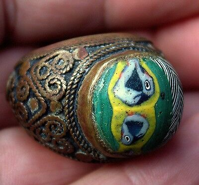 Stunning Very Old Roman Glass In Old Ornate Bronze Ring