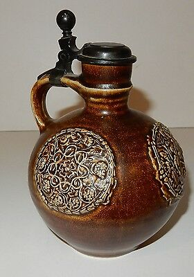Antique / Vintage German Merkelbach Grenzhausen Lidded Stoneware Jug / Pitcher