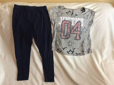 Justice Girls Size 7 / 8 Crop Top / Navy Blue Leggings Outfit