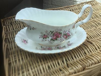 Royal Albert Lavender Rose vintage 1961 gravy boat and stand 1st quality