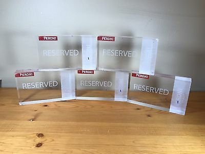 Lot Of 5 Peroni Reserved Table Signs Italian Beer Restaurant Reservation Italy