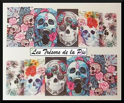 STICKERS ONGLES WATER DECAL (x10) - Nail art - Têtes de mort - Multicolore
