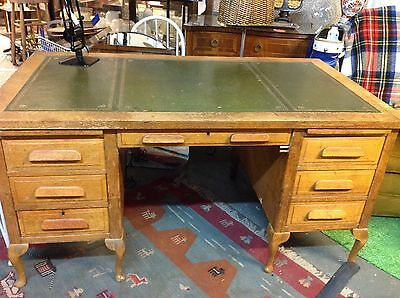 Green Leather Top Large Vintage Desk and x6 drawers