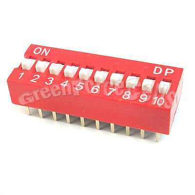 5 x 10 Position Ways Slide Style DIP Switch 2.54mm Pitch Gold Tone 20 Pin Code