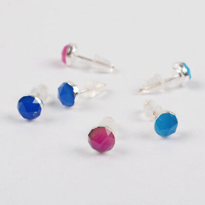 5Pair 925 Sterling Silver 6mm Round Faceted Studs, Dyed Color Chalcedony BSS175