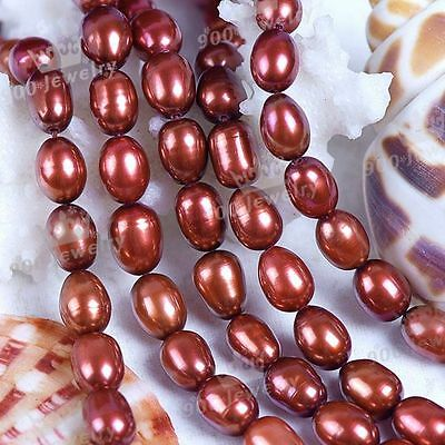 "6x7MM CULTURED FRESHWATER ROSE RICE PEARL BEADS 14.5""L FASHION JEWELLERY DIY"