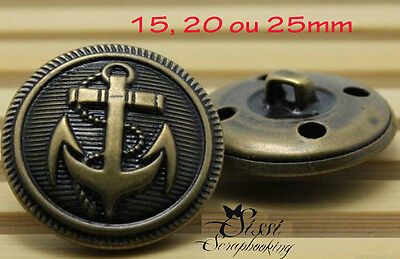 LOT 4 BOUTONS METAL bronze ANCRE MARIN COUTURE MANTEAU COUTURE 15 20 ou 25mm DIY