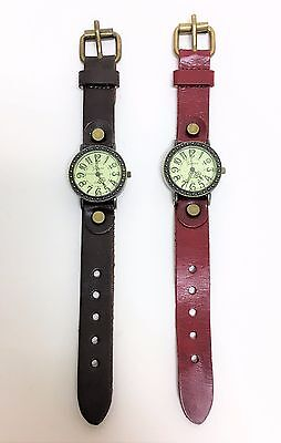 New Geneva Antique Vintage Style Brass Tone,man Made Leather Band Watch
