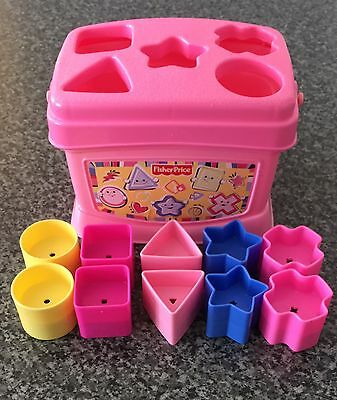 Fisher Price Pink Shape Sorter Baby's First Blocks Nursery Baby Toy