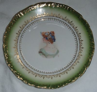 """Vintage Germany 7 1/2"""" Victorian Lady Green & Gold Portrait Plate"""