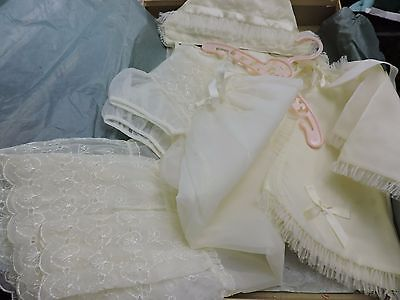 VTG BABY CHRISTENING BAPTISM GOWN OUTFIT SET w/ DRESS, SLIP, CAP & JACKET - EXC!