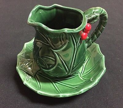 LEFTON Green Holly & Berry Christmas Small Pitcher and Bowl