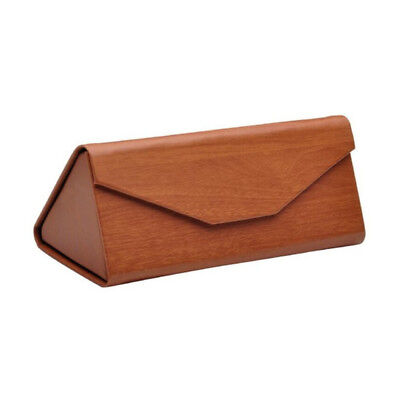 Faux Light Wood Folding Triangular Glasses Case for Small & Medium Frames - By