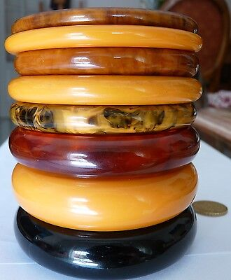 Huge Lot Antique Art Deco Amber Bakelite Bangles Bijoux Anciens Bracelets 168 G