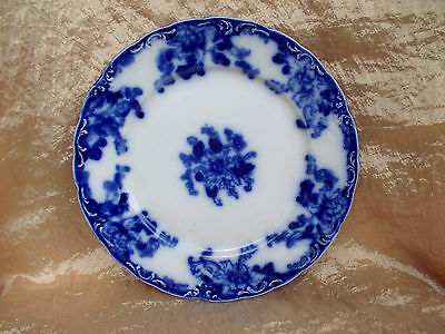 Antique Flow Blue Display Plate Unknown New Wharf? Pattern England Blurred Mark