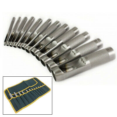 12PC PRECISION HOLLOW PUNCH SET 3mm-19mm GASKET HOLE CUTTER + CANVAS TOOL ROLL