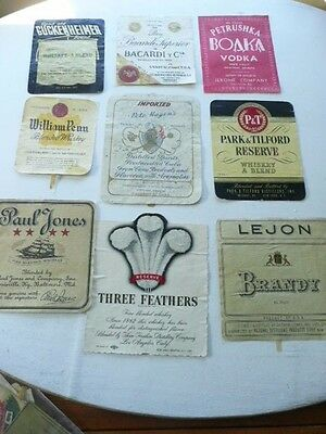 Lot Of 9  Old Vintage Whiskey Labels Kentucky Whiskey Bourbon Etc.... Lot  # J