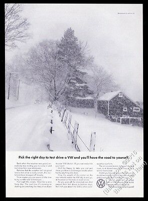 1967 VW Volkswagen Beetle classic car on snowy road photo 11x8 print ad
