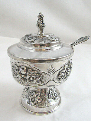 New Sterling Silver 925 Honey Dish Pot Jar With Spoon For Rosh Hashanah 156g