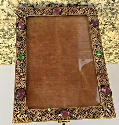 "Antique Vintage Bronze Brass Czech Jeweled Picture Frame Filigree  6"" x *8.25"""