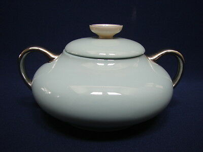 Vintage Franciscan China Aqua DAWN Covered Sugar Bowl Platinum Trim