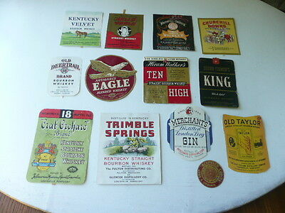 Lot Of 13   Old Vintage Whiskey Labels Kentucky Whiskey Bourbon Etc.... Lot  #r