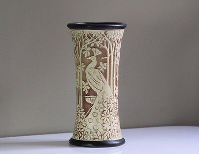 Antique Early 20thC Weller Ivory Peacock Vase
