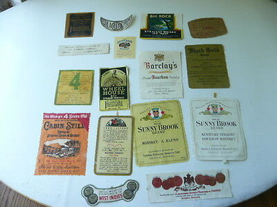 Lot Of 16  Old Vintage Whiskey Labels Kentucky Whiskey Bourbon Etc.... Lot  #x