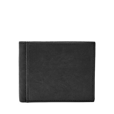 Fossil Mens Ingram Genuine Leather RFID Safe Bifold Wallet with Flip ID Billfold