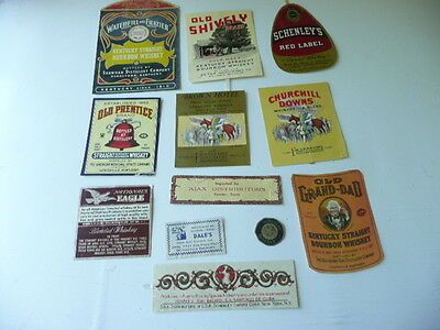 Lot Of 12  Old Vintage Whiskey Labels Kentucky Whiskey Bourbon Etc.... Lot  # Z
