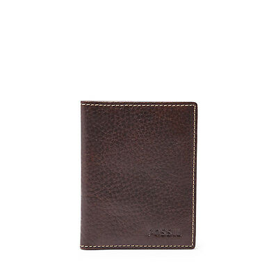 Fossil Mens Lincoln Leather Card Case Bifold Wallet Minimalist Slim Card Holder