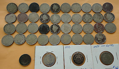 Mixed Lot of Nickels, (3) Shield & (40) V nickels - you get 43 nickels total